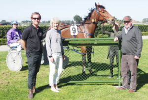 John and Judy Stiven with their son Lee after Countess of Arden's win at Invercargill